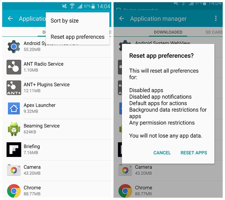 AndroidPIT Galaxy Note 4 app settings reset app preferences
