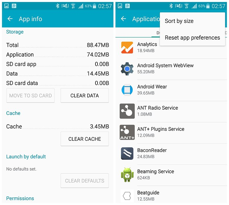 AndroidPIT Galaxy Note 4 clear app cache reset app preferences