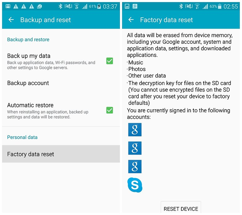 AndroidPIT Galaxy Note 4 factory data reset Google backup