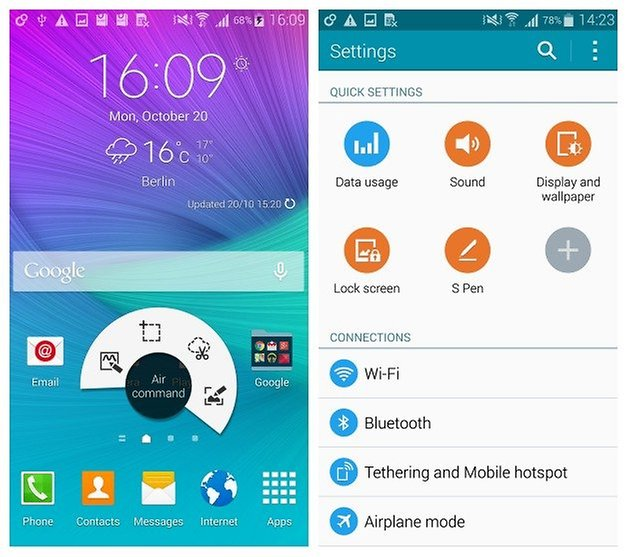 AndroidPIT Galaxy Note 4 home screen settings