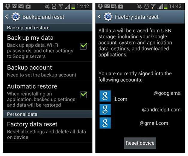 AndroidPIT Galaxy S2 Factory Reset