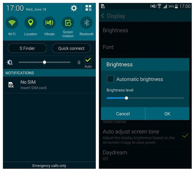 AndroidPIT Galaxy S5 Auto Brightness