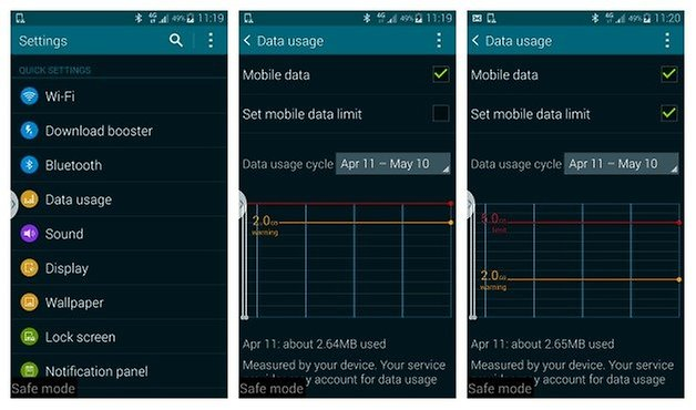 AndroidPIT Galaxy S5 Set Data Limit