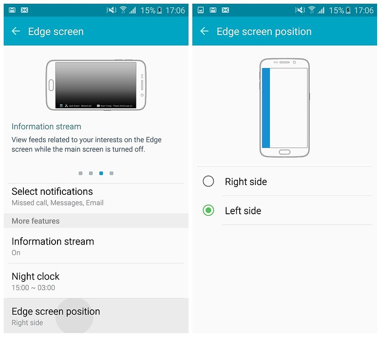 AndroidPIT Galaxy S6 Edge TouchWiz Edge Screen position