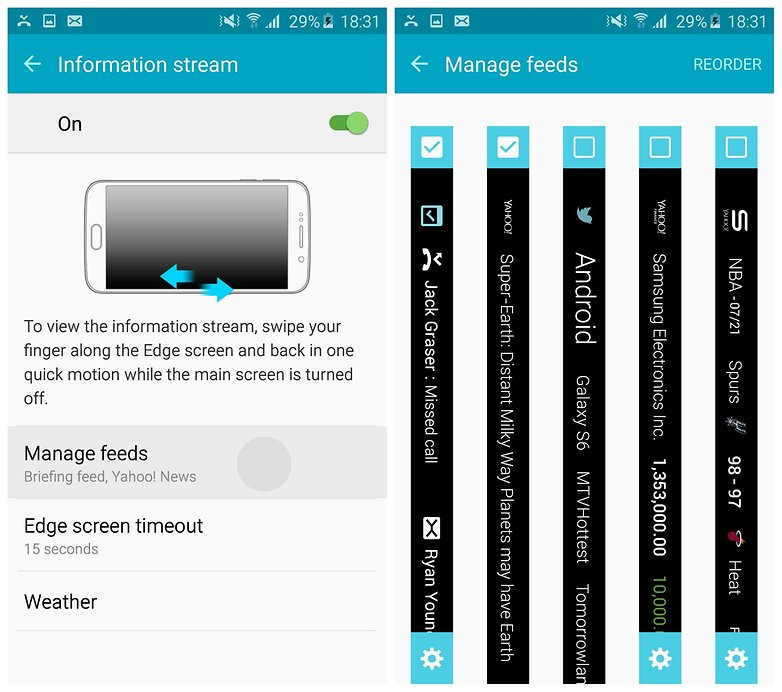 AndroidPIT Galaxy S6 Edge TouchWiz Information Stream feeds