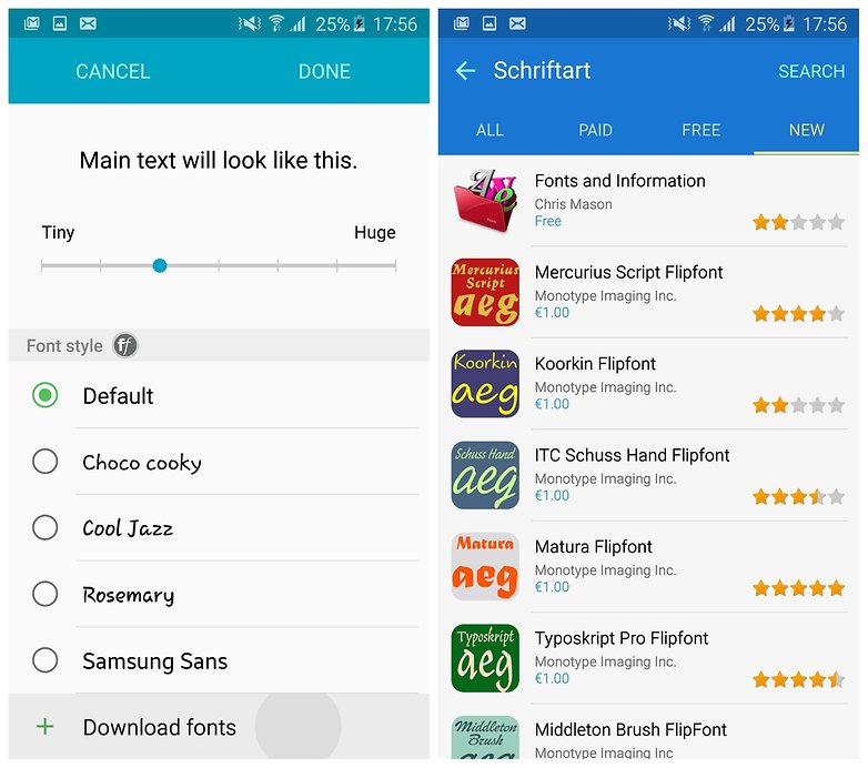 AndroidPIT Galaxy S6 Edge TouchWiz font styles