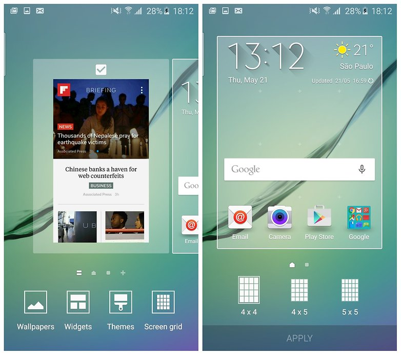 AndroidPIT Galaxy S6 Edge TouchWiz manage home screens