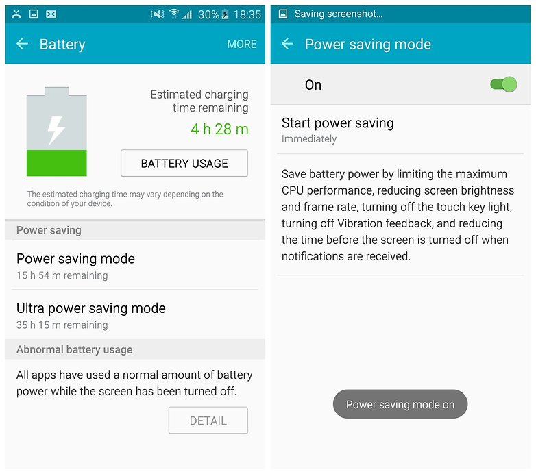 AndroidPIT Galaxy S6 Edge TouchWiz power saving mode enabled