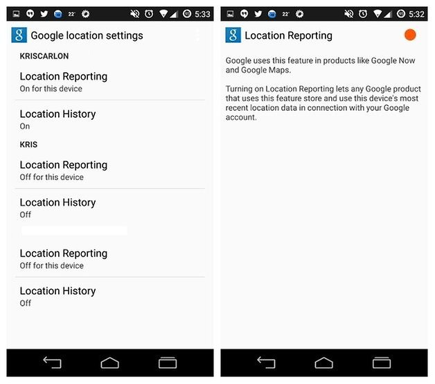 AndroidPIT Google Location Reporting Settings