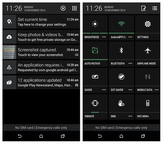 AndroidPIT HTC One E8 notifications quick settings