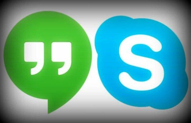 AndroidPIT Hangouts Skype logos