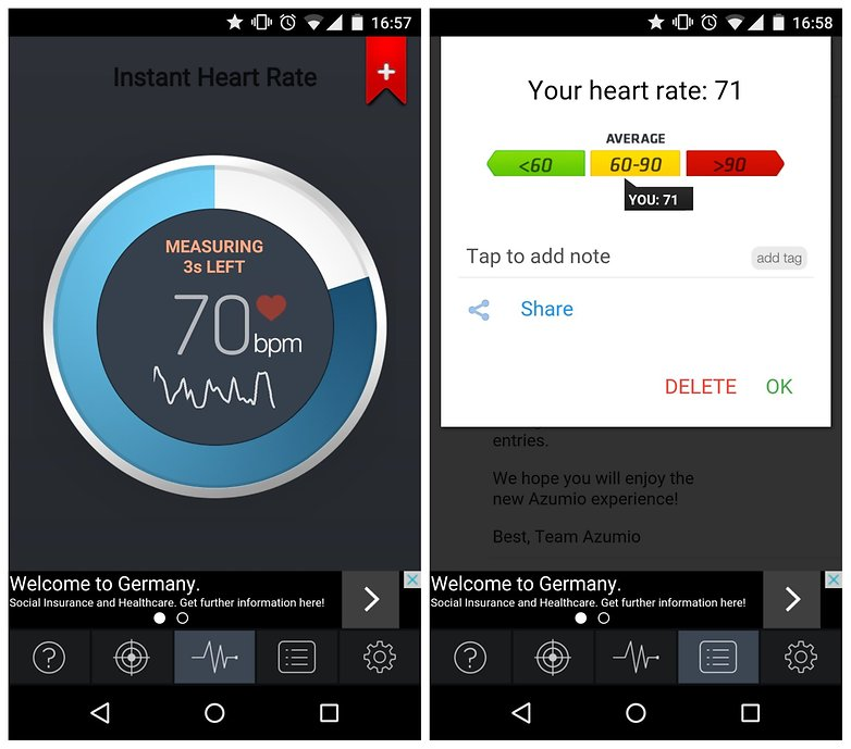 AndroidPIT Instant Heart Rate measuring heart rate
