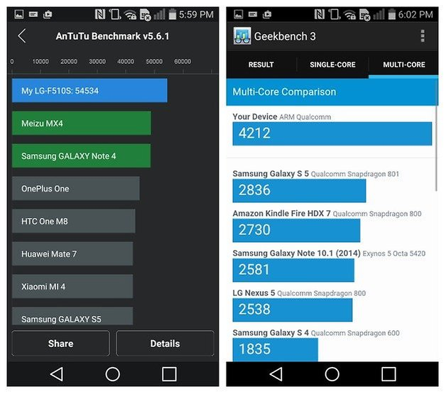 AndroidPIT LG G Flex 2 benchmarks