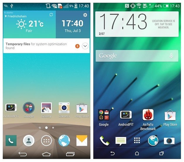 AndroidPIT LG G3 HTC One M8 homescreen