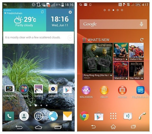 AndroidPIT LG G3 Sony Xperia Z2 homescreen