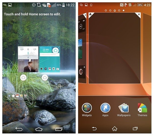 AndroidPIT LG G3 Sony Xperia Z2 screen management