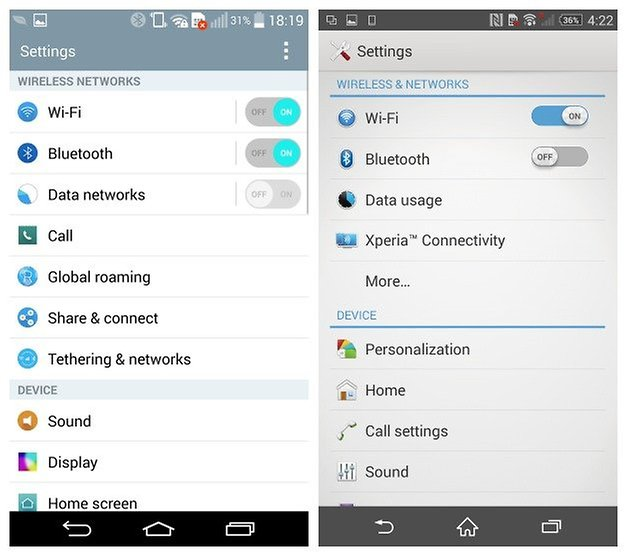 AndroidPIT LG G3 Sony Xperia Z2 settings