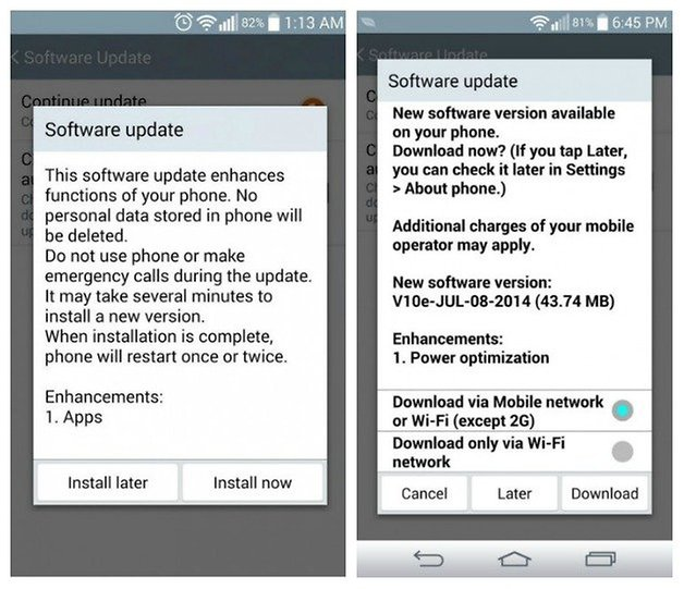 AndroidPIT LG G3 software update apps power