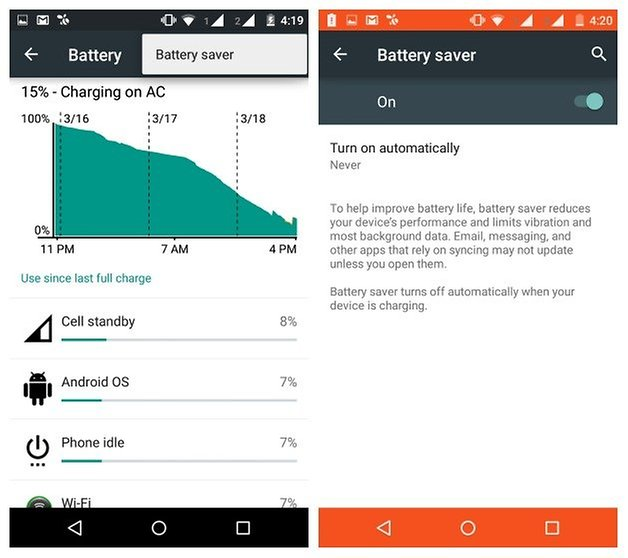 AndroidPIT Moto G 2014 battery saver