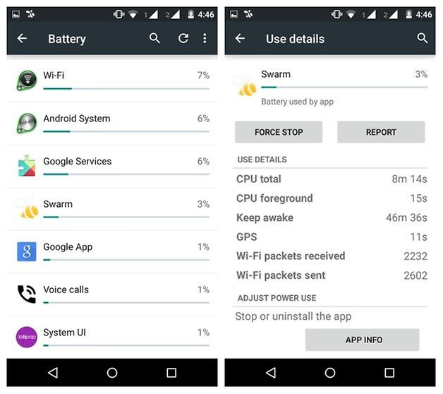 AndroidPIT Moto G 2014 battery use app