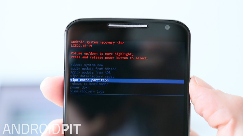 AndroidPIT Moto X 2014 Recovery Mode wipe cache partition