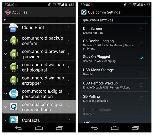 Moto X and Moto G hidden system settings accessible through security