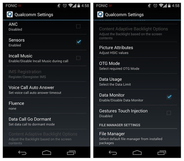 Moto X and Moto G hidden system settings accessible through