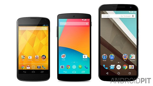 AndroidPIT Nexus 4 5 6 size comparison