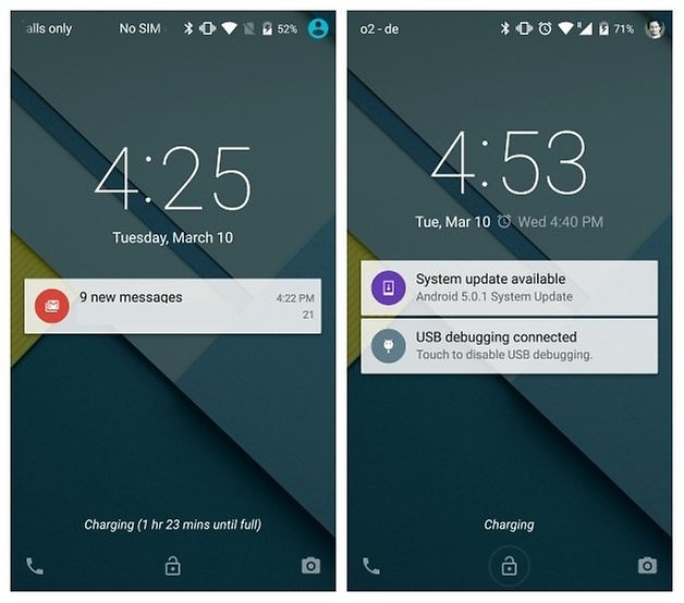 AndroidPIT Nexus 5 Android 5 0 and 5 1 comparison lock screen