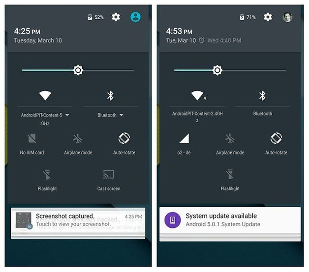 AndroidPIT Nexus 5 Android 5 0 and 5 1 comparison quick settings