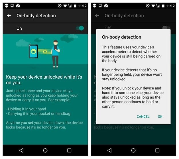 AndroidPIT Nexus 5 Android 5 1 Lollipop security on body detection
