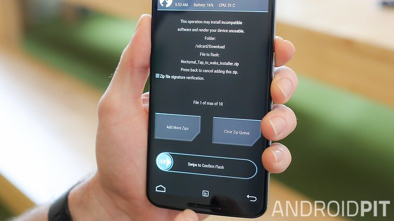 AndroidPIT Nexus 6 TWRP recovery slide to flash
