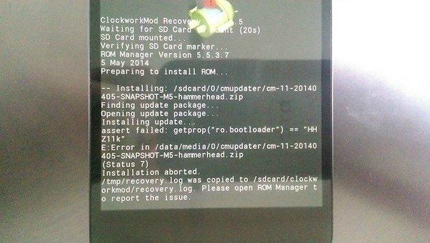 AndroidPIT Nexus Status 7 Bootloader Error