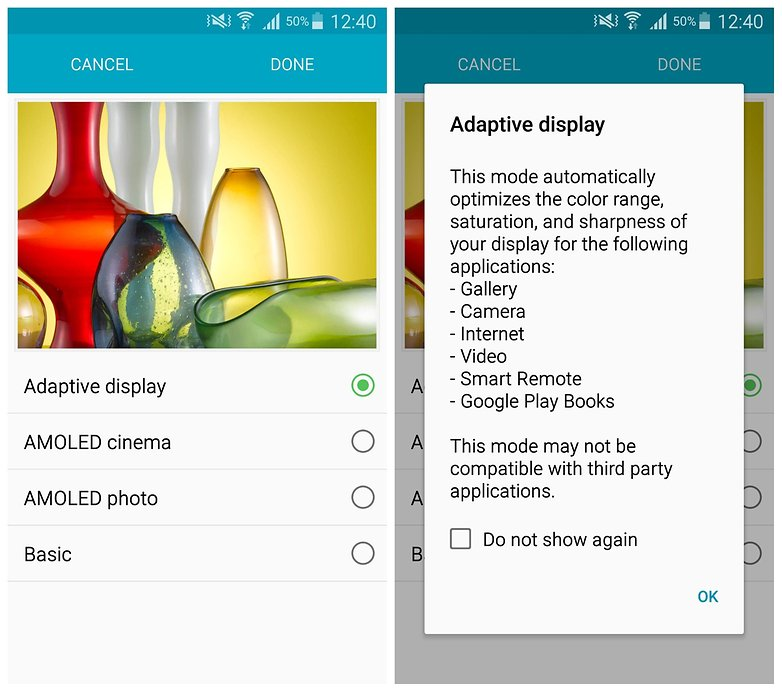 AndroidPIT Note 4 display mode adaptive display