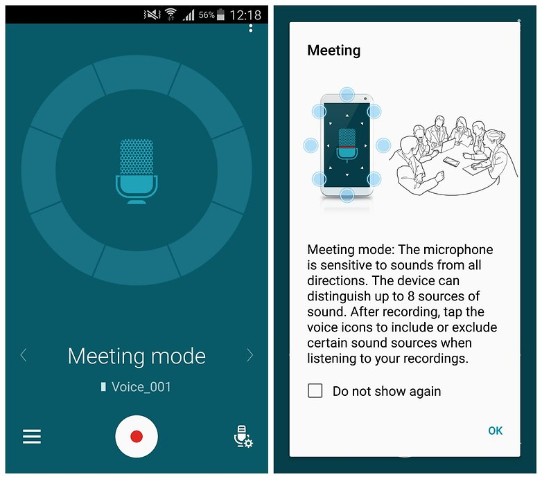 AndroidPIT Note 4 meeting mode voice recorder