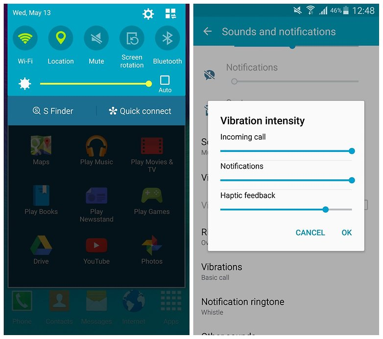 AndroidPIT Note 4 mute vibration settings