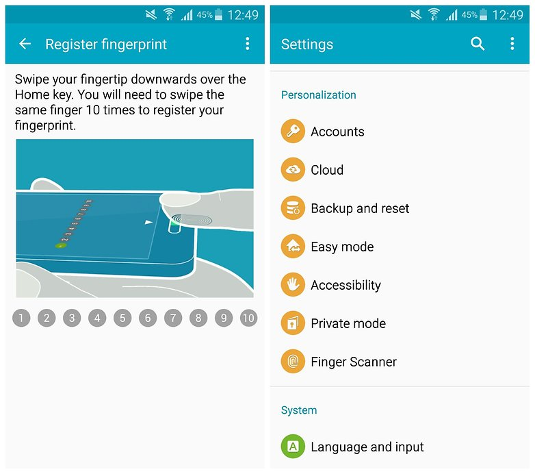 AndroidPIT Note 4 perosnalization fingerprint scanner
