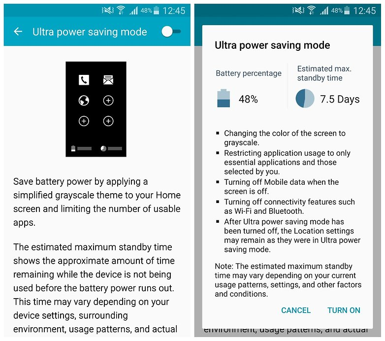 AndroidPIT Note 4 ultra power saving mode