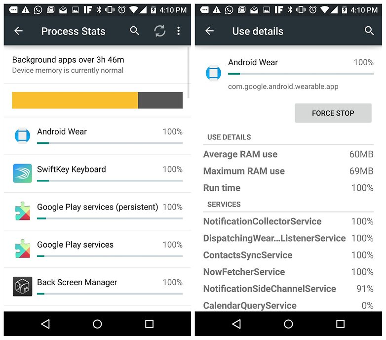 AndroidPIT Process Stats Developer Options Android Wear