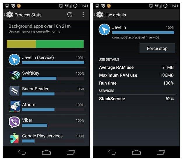 AndroidPIT Process Stats RAM Usage