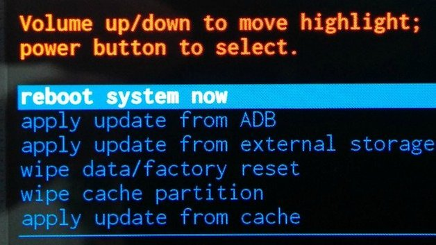 AndroidPIT Recovery Menu Reboot System