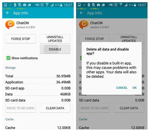 AndroidPIT Samsung Galaxy S5 Application Manager ChatOn disable app