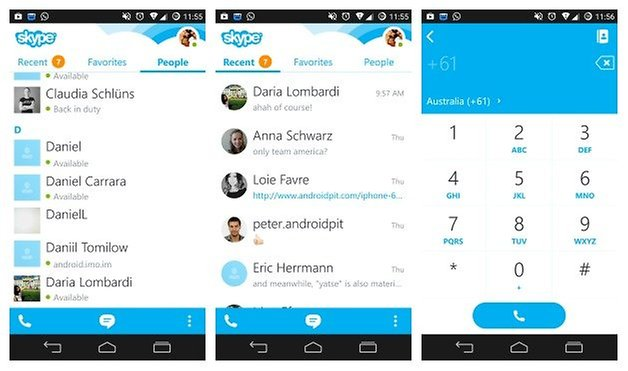 AndroidPIT Skype interface