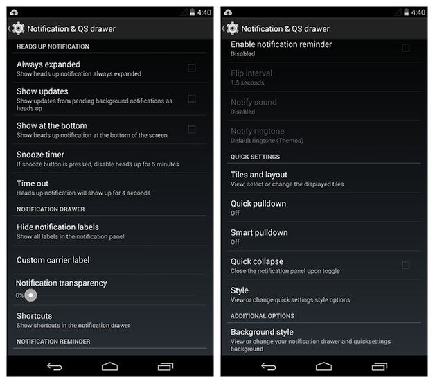AndroidPIT SlimKat Notification Settings