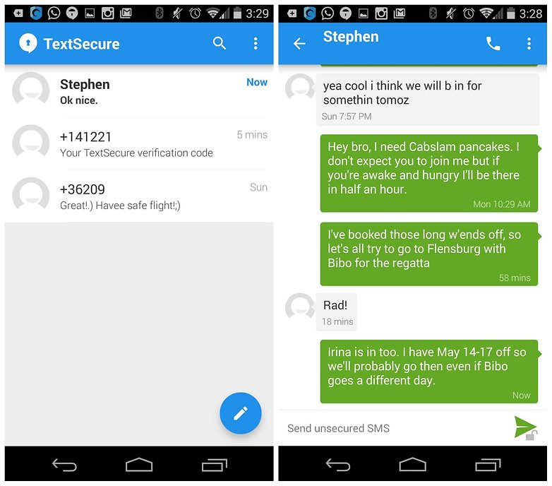 AndroidPIT TextSecure encrypted messaging