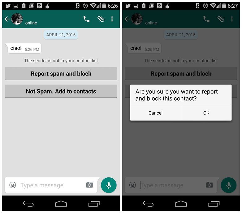 AndroidPIT WhatsApp block number report as spam