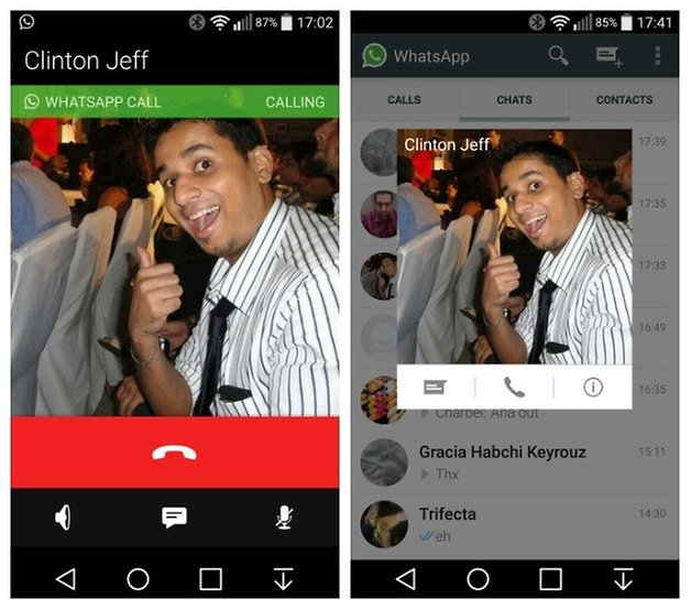 AndroidPIT WhatsApp voice call ongoing contact