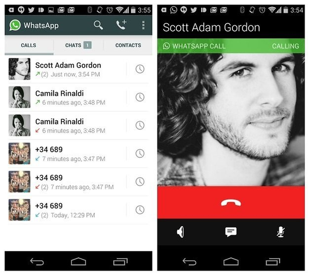 AndroidPIT WhatsApp voice calls call log outgoing