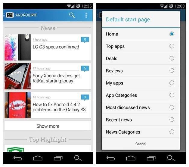 AndroidPIT app v22 start