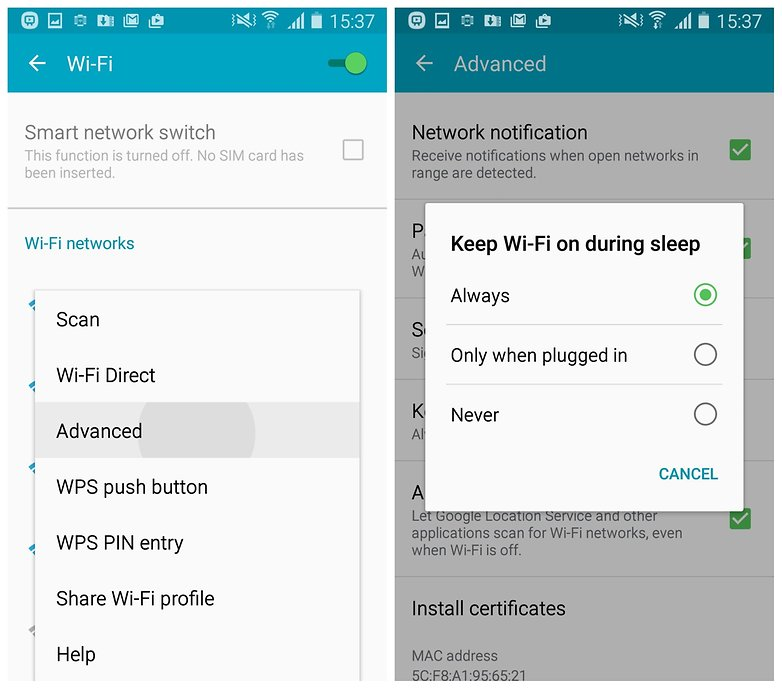AndroidPIT Galaxy S4 Lollipop Wi Fi settings off while asleep